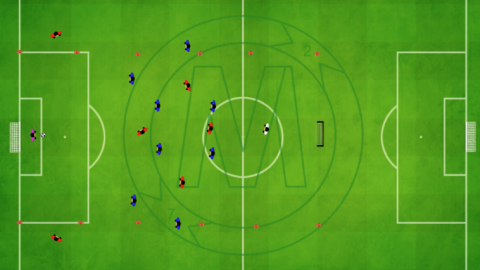 9v9 Buildup Movement with outside zone against 2 forward (Player movement in 4-3-1)_ by Matthew