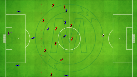 Defensive trap using forward to cut off passing line (4-4-2)_by Matthew